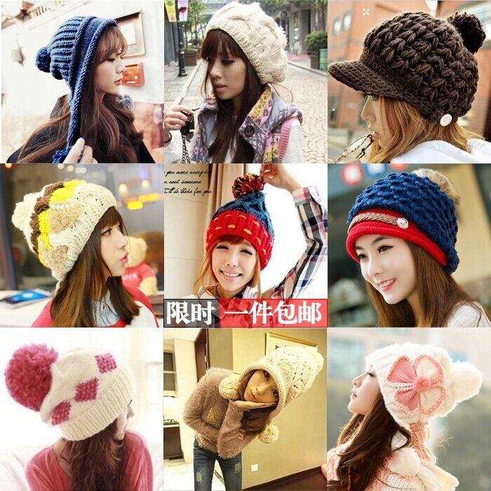 Корейские зимние шляпы девушки милые вязать шерсти шляпу Корея осень зима халявы уха теплый шляпу мяч cap прилива пакет mail
