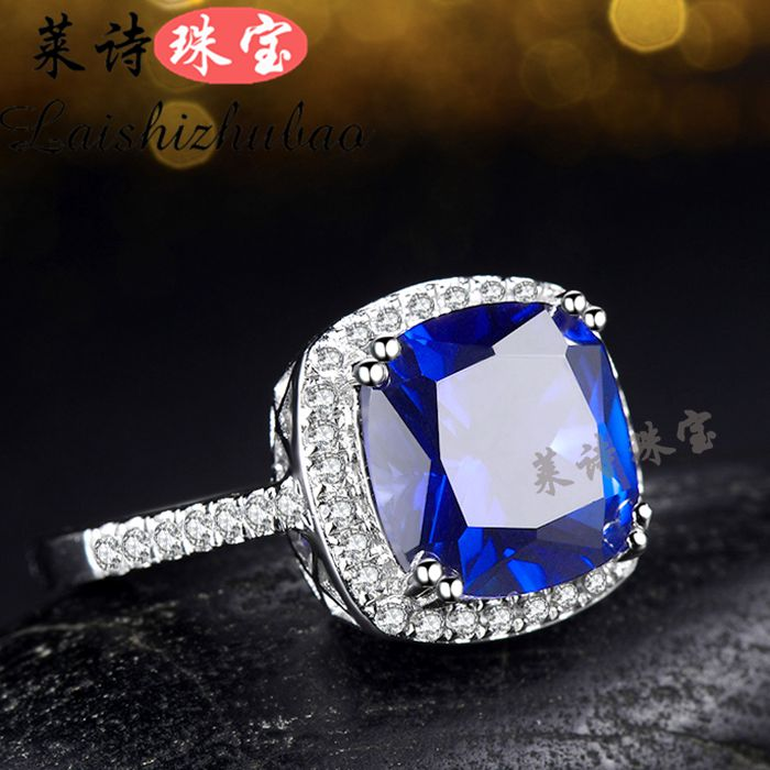 Sapphire ring female Japan and South Korea color gem ring silver plated 18K gold color treasure Chaoren gift precious gem