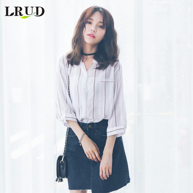LRUD春装2018新款女装韩版条纹白色衬衫上衣女宽松小衫休闲衬衣潮