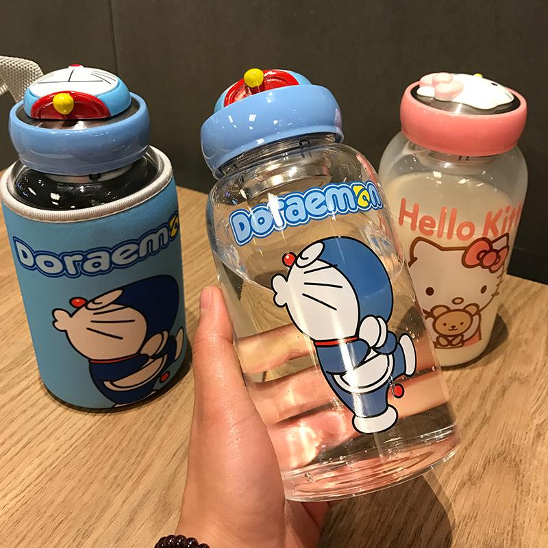 Large capacity caliber water cup Harajuku male and female students Korean fresh and lovely flower tea girl heart glass
