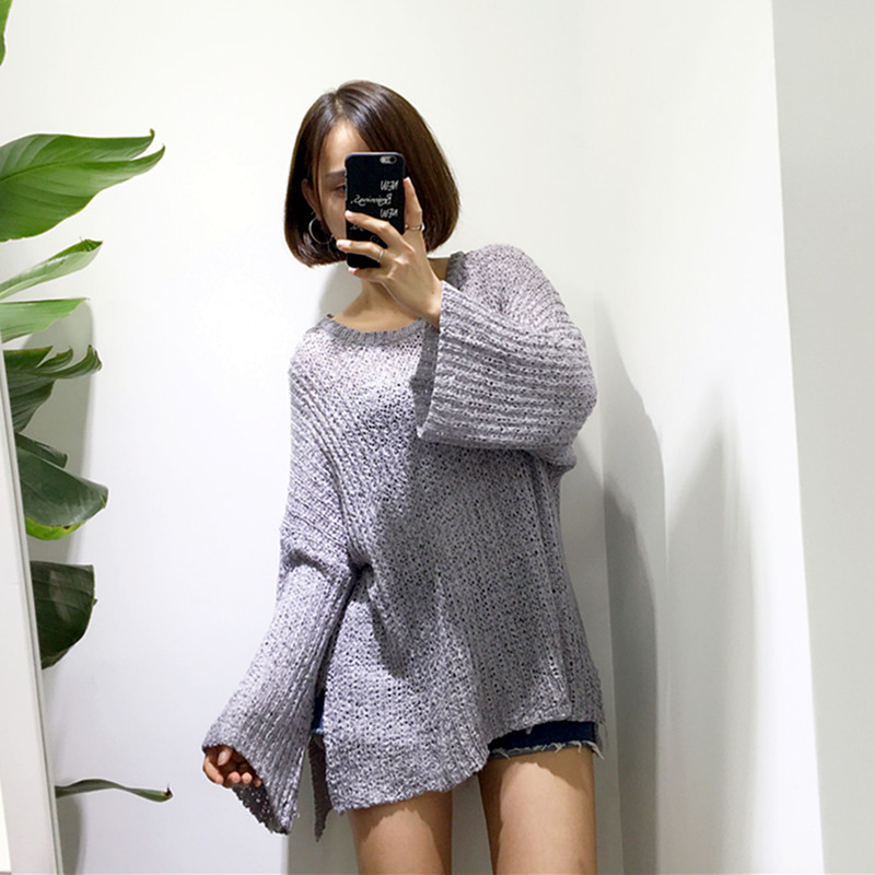 [Susu] autumn Korean New Womens top sweater loose wide sleeves show thin long sleeves irregular coarse wool solid color