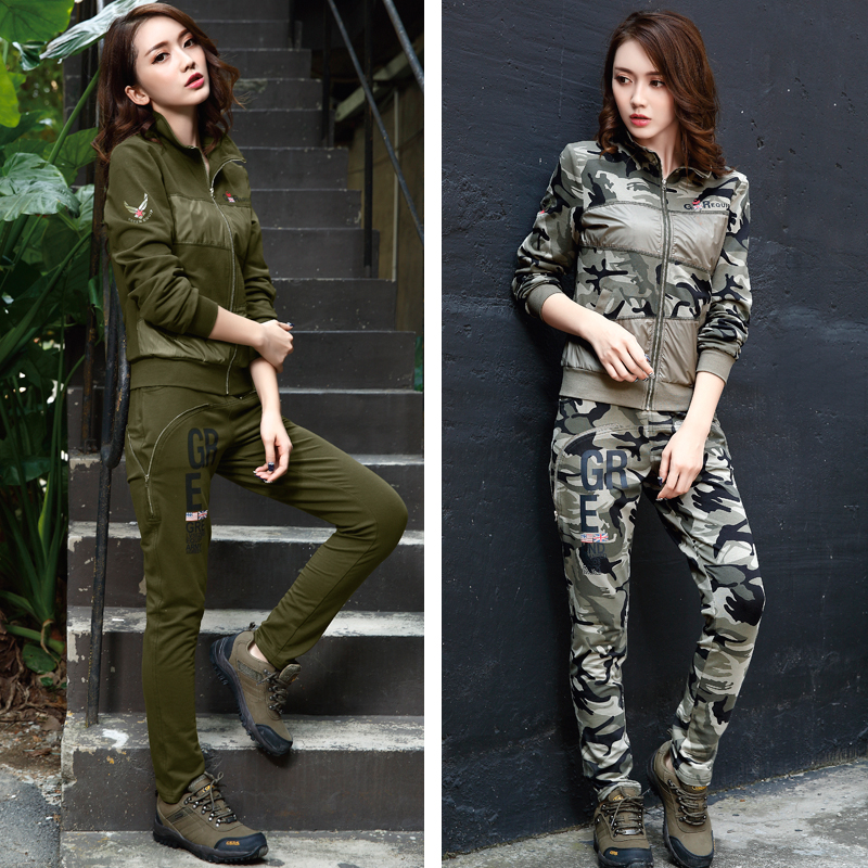 Green equipment autumn and winter new outdoor sports military fan clothing camouflage clothing military fashion womens suit wt2906