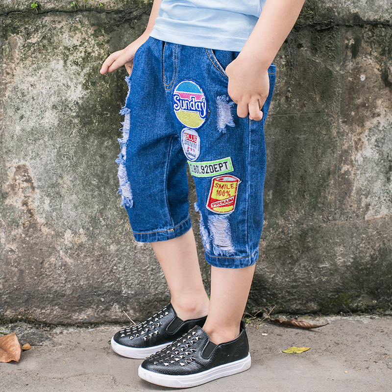 Butajiao boys jeans summer Chinese New Korean childrens Capris baby label shorts fashion