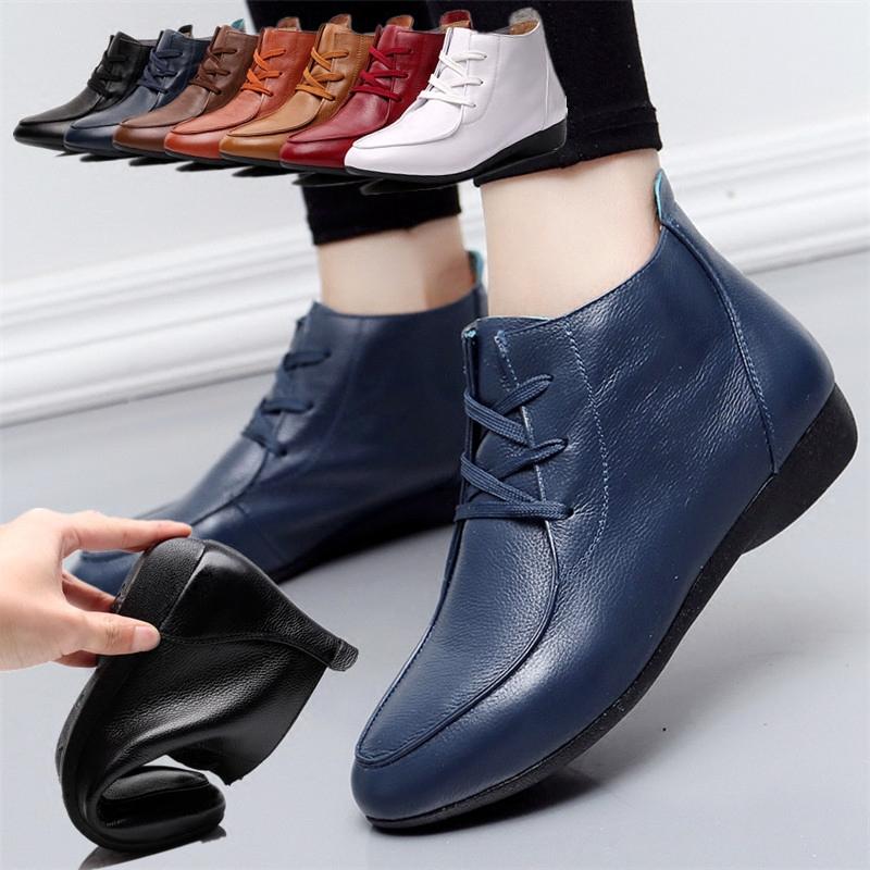 春秋真皮女鞋单鞋牛皮鞋中高帮短靴平底鞋中老年妈妈鞋系鞋带软底