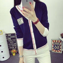 New autumn outfit 2015 V collar badge printing knitting single-breasted cardigan sweater coat thin air conditioning unlined upper garment