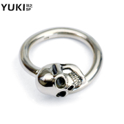 YUKI men''s 925 Silver ring-ring European fashion skull boom opening ring finger ring Club accessories