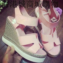 In the summer of 2015 the new leather sponge wedges casual shoes fashion straw waterproof open-toed sandals with high tide