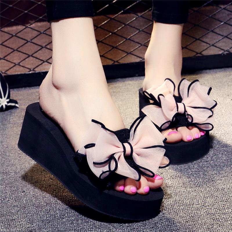蝴蝶結高跟涼拖鞋女士防滑坡跟厚底一字拖鬆糕跟沙灘度假拖鞋
