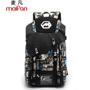 Maifan new tide print backpack Korean male fashion computer bags canvas bags outdoor leisure travel bags