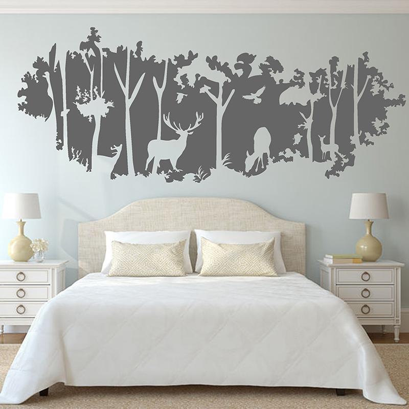 定製大型森林客廳臥室玄關房間牆壁裝飾品小鹿牆貼畫貼紙自粘