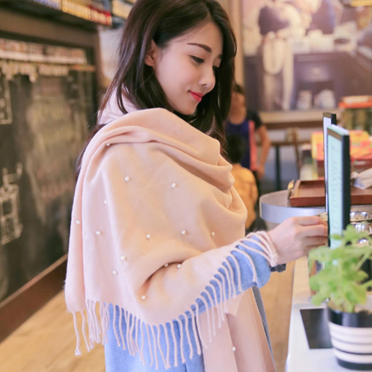 上海故事女士 釘珠裝飾流蘇保暖圍巾