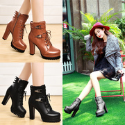 Shield Fox fall 2015 designer shoes round head short Europe Martin coarse with thick-soled platform boots high heels boots women