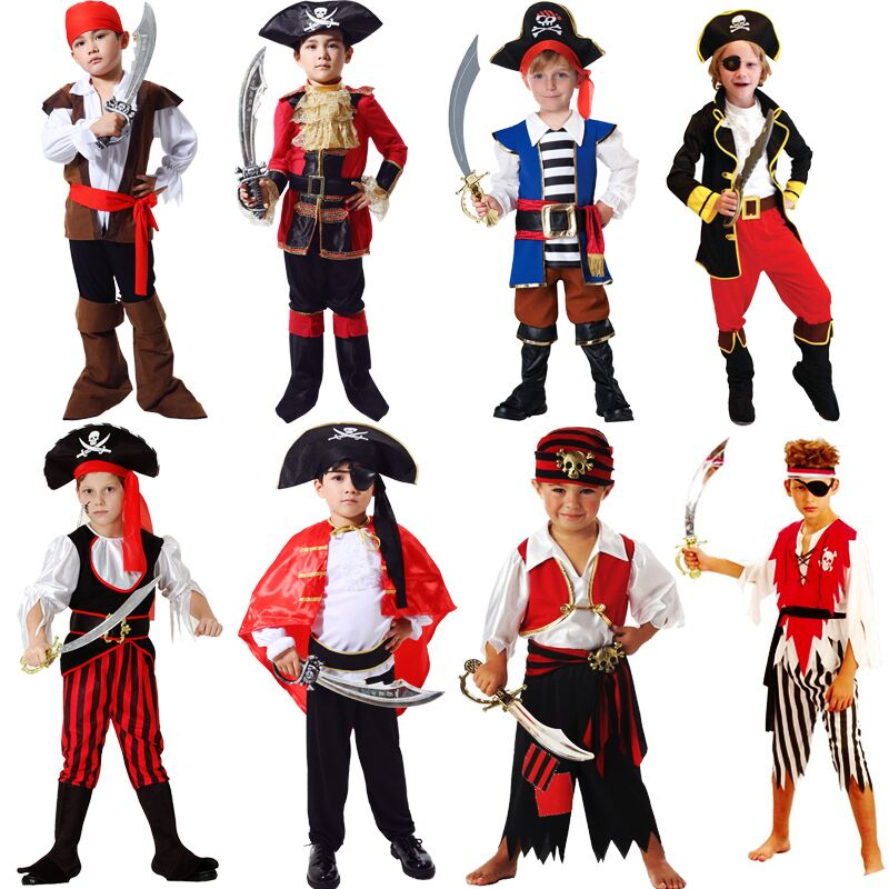 Halloween pirate clothes Caribbean Pirates cos mens childrens Masquerade Ball Costume Pirate Hat
