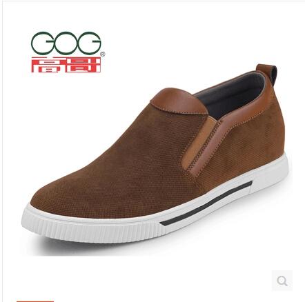 高哥板鞋 男式乐福鞋W1553一脚蹬懒人增高6cm休闲布鞋 内增高男鞋
