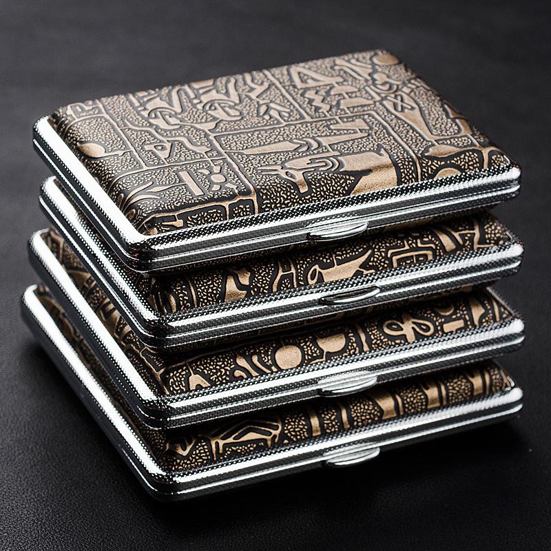 雙槍煙盒 20支裝古埃及  自動金屬煙具 超薄男士煙夾