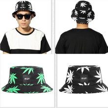 HUF fisherman cap bucket hat HUF basin hat hemp leaf color leaves men and women lovers cap embroidery maple leaf