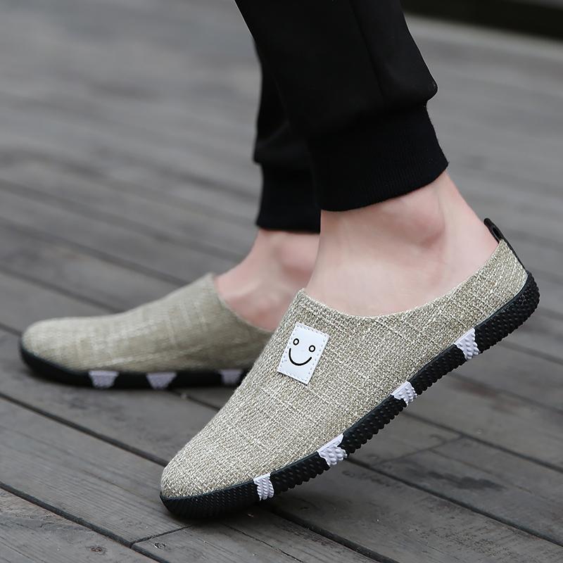 夏季懒人帆布拖鞋休闲男士凉鞋包头老北京布鞋透气韩版凉拖半拖鞋