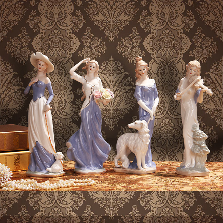 现代欧式家居人物装饰品客厅酒柜摆件陶瓷器工艺品西洋女结婚礼物 Изображение 1