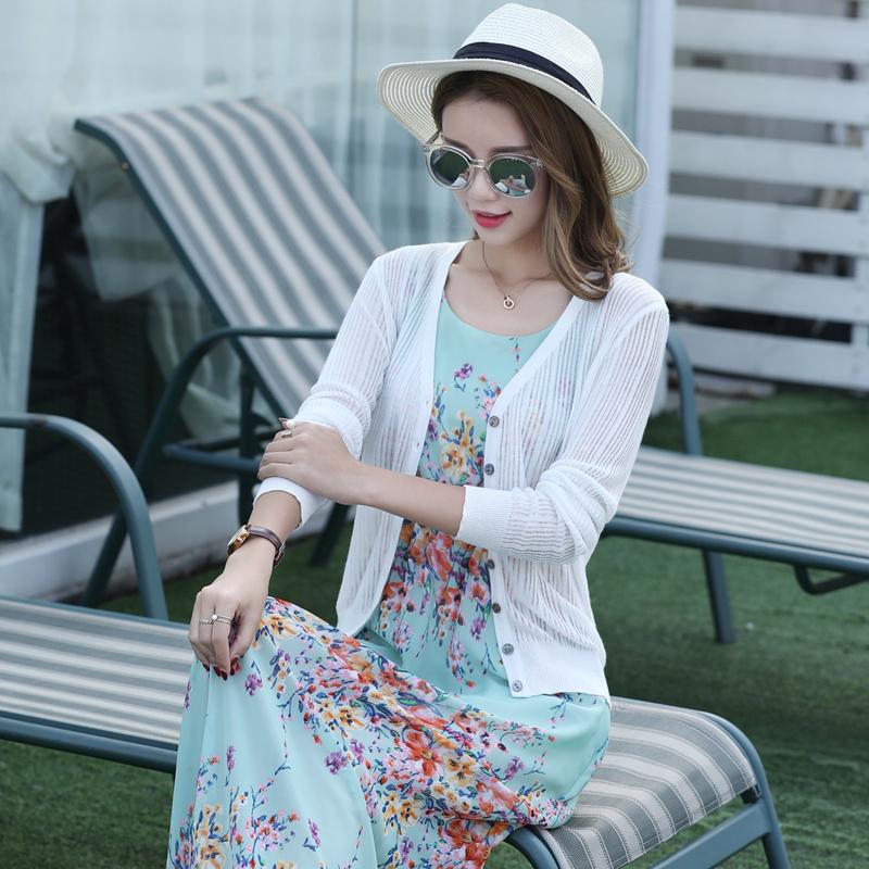 夏季超薄款针织女开衫纯色披肩短款条纹镂空小外套长袖空调防晒衣