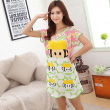 Summer modal nightgown cotton pajamas, women in the spring and autumn with cute cartoon household to take even the clothes nightgown 9.9 package mail