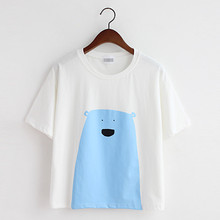 In the summer of 2015 the new version of loose big yards cartoon animal printed short round collar short sleeve T-shirt