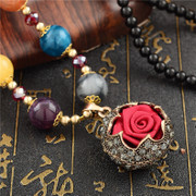Good retro long sweater women fashion rose flower necklace Joker hanging chain Korea accessories package mail