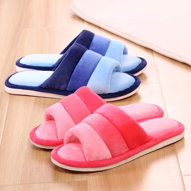 秋 室內男女棉拖鞋 露趾家居家用情侶地板毛絨一字毛毛拖鞋