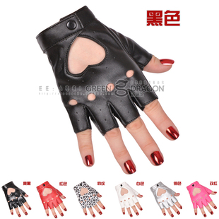 Half Finger Gloves female star models hip-hop performances on stage Gloves lady gaga hearts pierced mitts