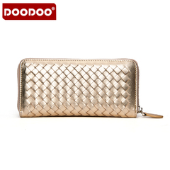 Doodoo lambskin zip woven single ladies leather wallet large zip around wallet cards for the American ladies hand bag