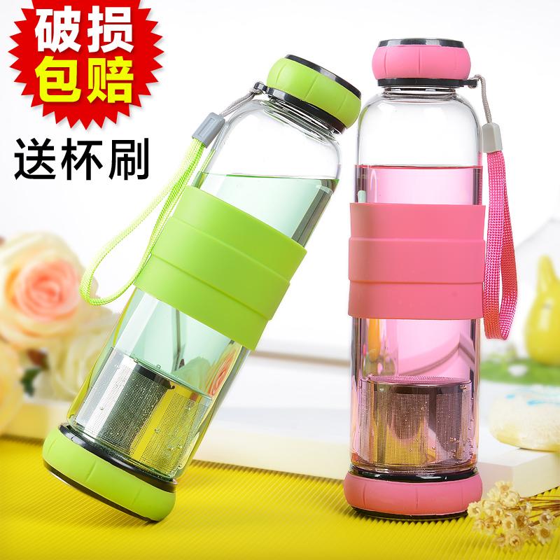 水憶寒便攜水杯帶過濾耐熱隨手杯男女 泡茶杯子學生情侶玻璃杯