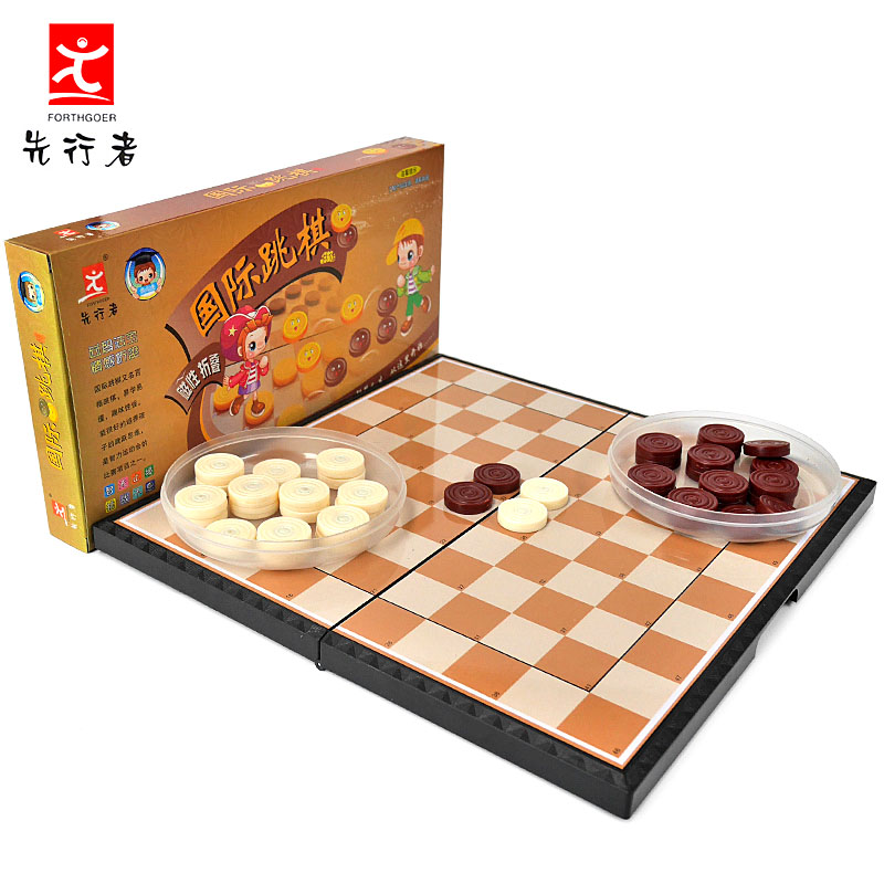 國際跳棋先行者兒童益智玩具磁性折疊塑料棋盤大號棋子100格M~5