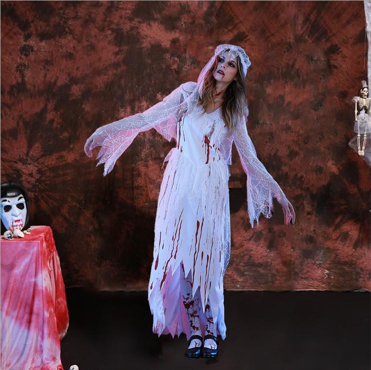 2017年新型ハロウィンコスプレ血生臭いメアリー鬼花嫁衣装パーティー舞台衣装