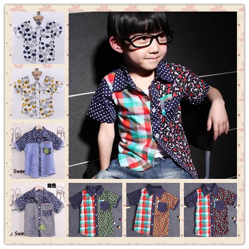 Весна/лето мальчики носить специальные полосы смешанные цвета японских и корейский кардиган мальчик коротким рукавом рубашки цвета сортировщик улитки сокровище