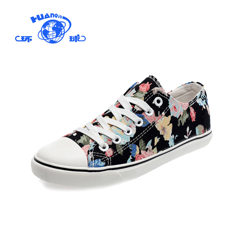 Global low top canvas shoes female students flat shoes casual Korean printed sneakers ethnic floral canvas shoes