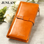 Chun LAN genuine leather wallet new purse wallet large zip around wallet large capacity top layer leather wallet zipper