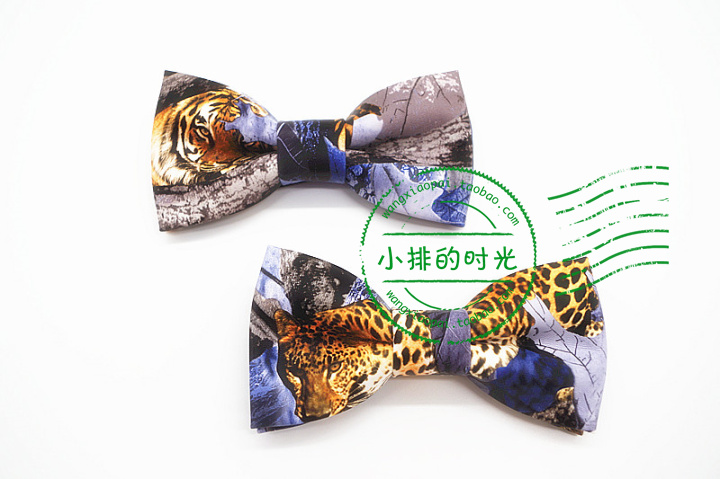 The time of the platoon, the Panther needs to run freely, and the tiger beast mens leather bow tie is retro