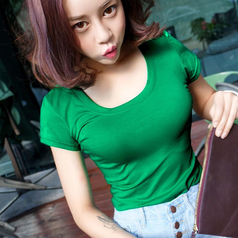 修身圓領純色墨綠色打底衫