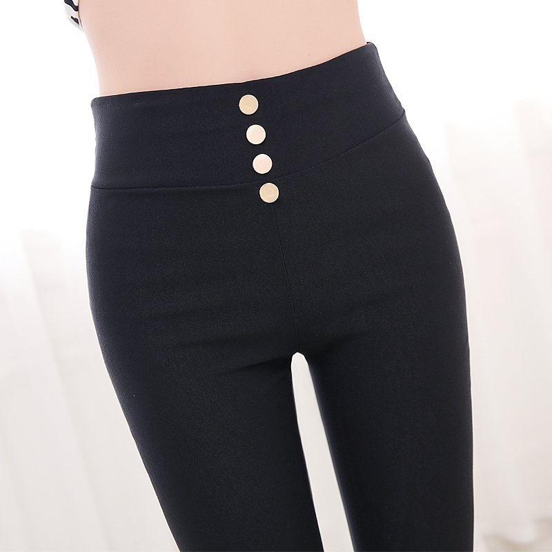 Summer thin 7 / 9 bottoming pants wear thin black pencil pants high waist tight legged pants children