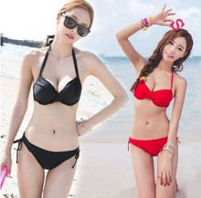 South Korea's sexy fashion pure color triangle bikini size chest hot spring bathing suit HuiMeiNa 1506 steel bracket