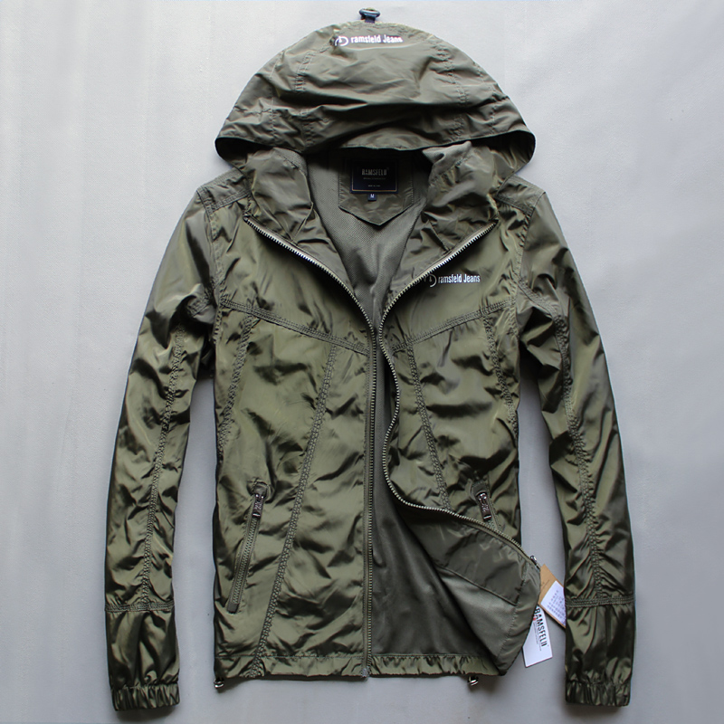 Rumsfeld spring and autumn mens casual Hooded Jacket Youth Large Mens fashion mens outdoor sports jacket Korean version