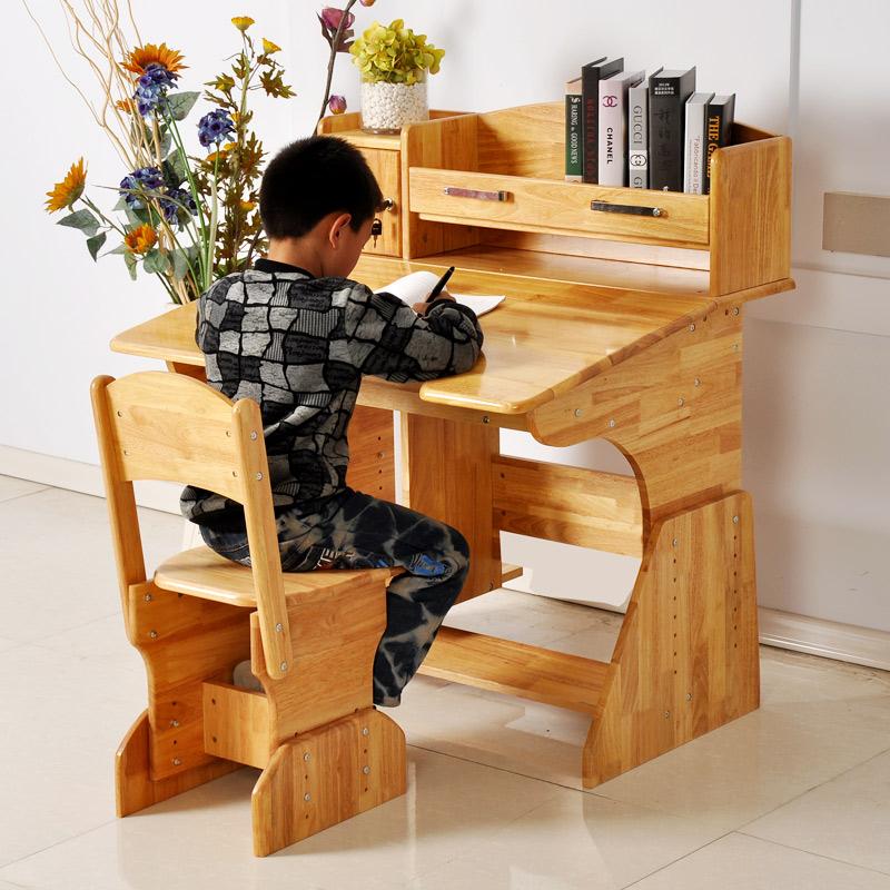兒童學習桌椅套裝實木可升降 小學生護童木質書桌橡膠木寫字桌子