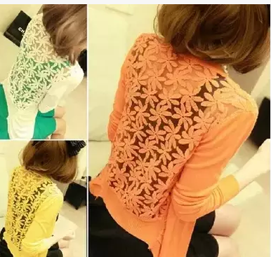 17夏季新款女装防晒空调罩衫镂空针织开衫蕾丝披肩薄外套长袖包邮