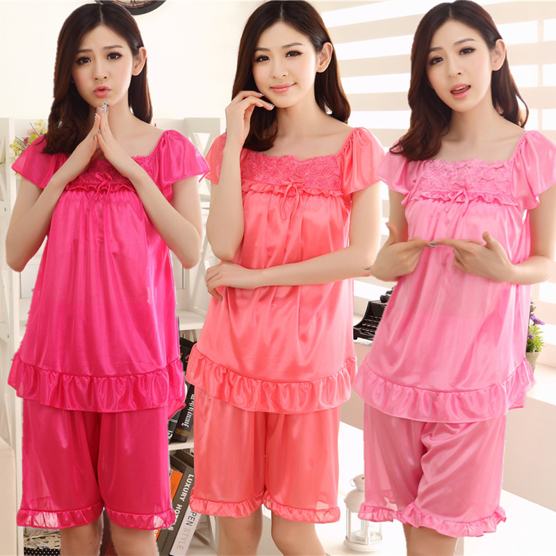 Summer sexy silk temptation ice silk short sleeve pajamas women lace lovely home wear summer pajamas set of two pieces