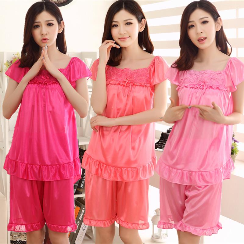 夏のセクシーなシルクの誘惑アイスの半袖のパジャマの女性のレースの可愛い家着の夏のパジャマのセット2点セット