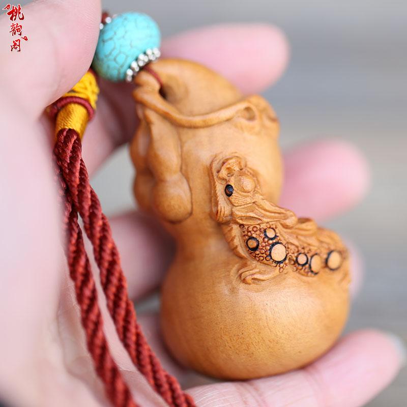 桃木葫蘆把件 雕刻貔貅手把玩強身健體送老人 原木無漆包郵