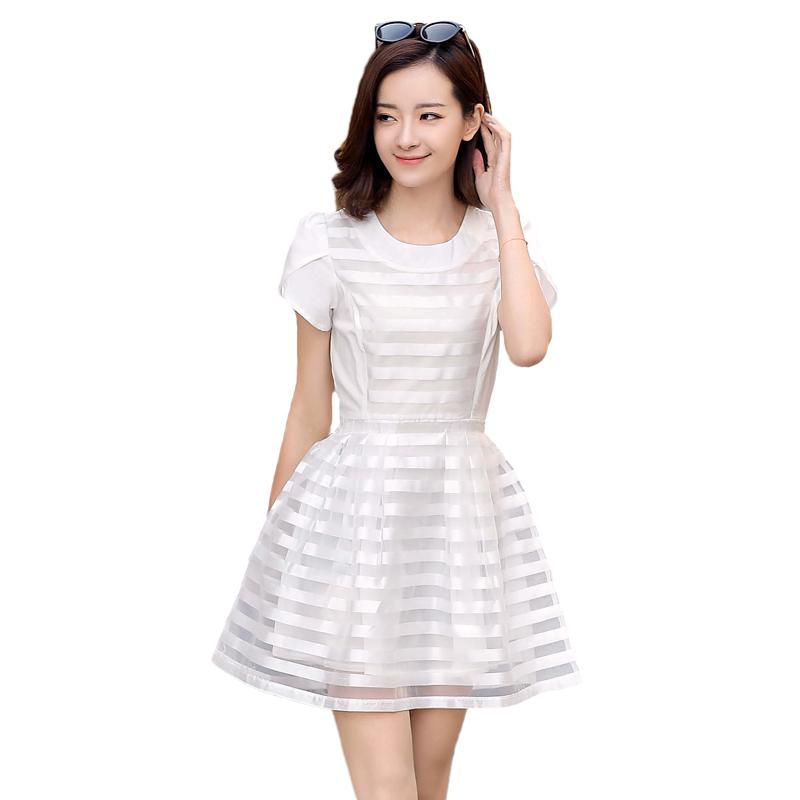 胖妹妹时尚裙子超大码女装夏季新品淑女条纹显瘦短袖连衣裙XXXXL