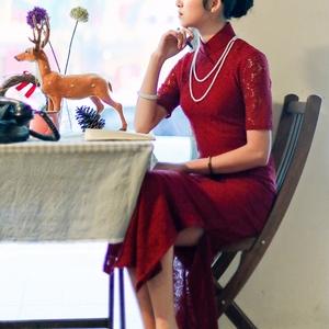 唐之语红色旗袍日常春季中长款复古蕾丝旗袍中长款 优雅酒红