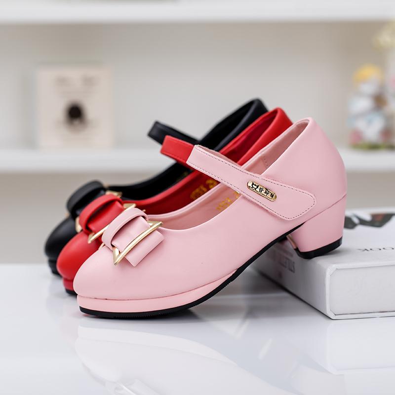 -Осенью 2015 принцесса девочек обувь детей обувь черный высокой пятки обувь мальчика девушка танец