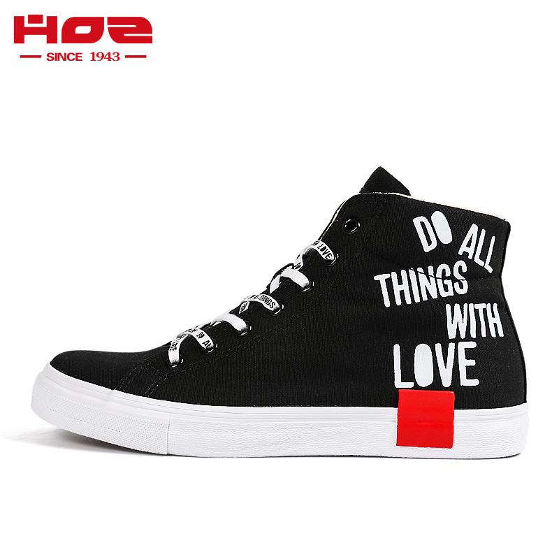 HOZ后街高帮帆布鞋男鞋学生字母印花休闲鞋单鞋板鞋