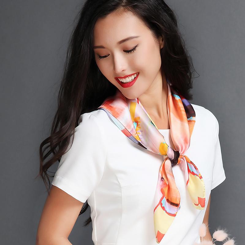 真絲方巾中國風名族油畫桑蠶絲小絲巾女士職業商務絲綢圍巾中方巾